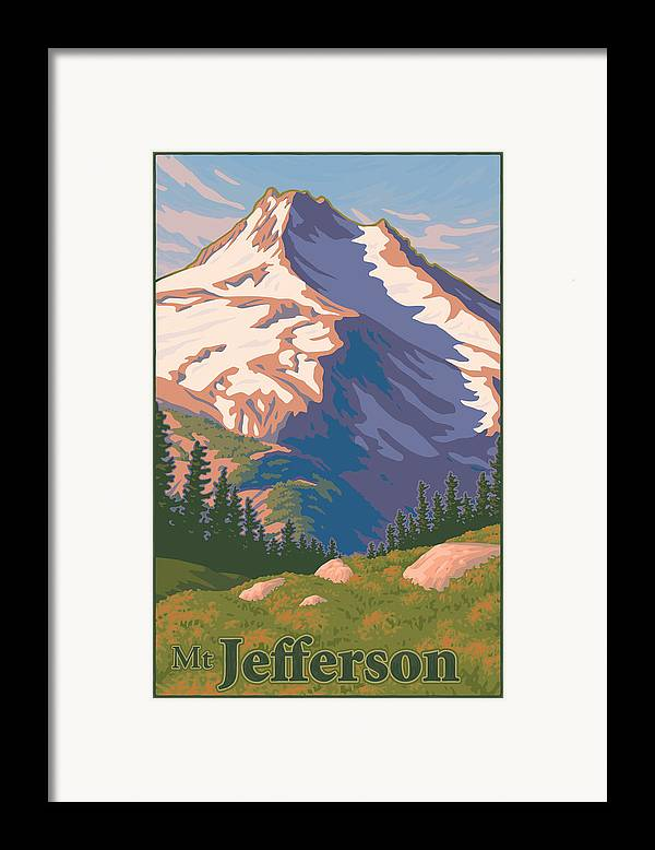 Portland Framed Print featuring the digital art Vintage Mount Jefferson Travel Poster by Mitch Frey