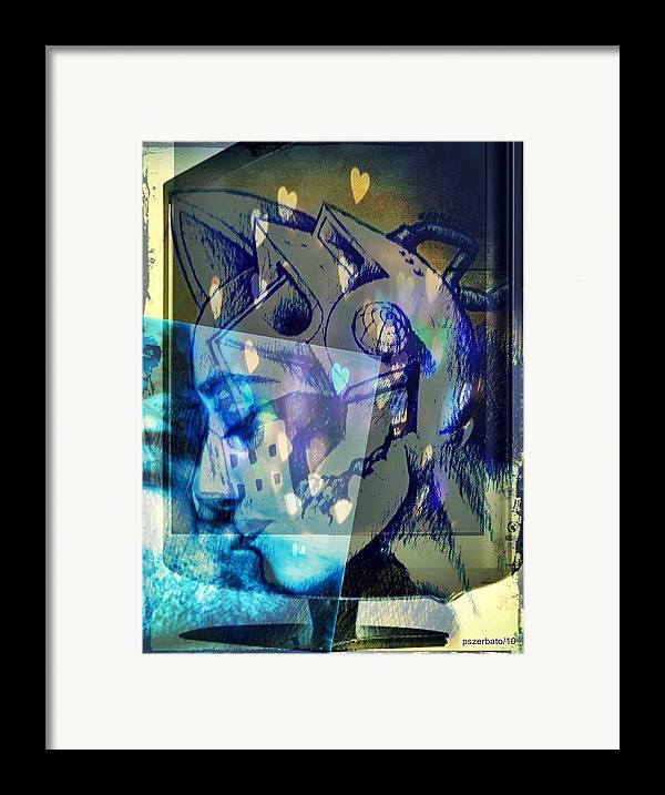 Physical Sensation Framed Print featuring the digital art Virtual Kiss 1 by Paulo Zerbato
