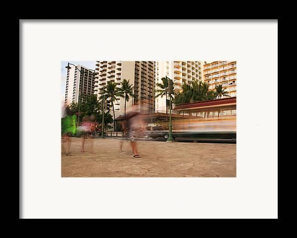 Waikiki Blur Framed Print by Ashlee Meyer