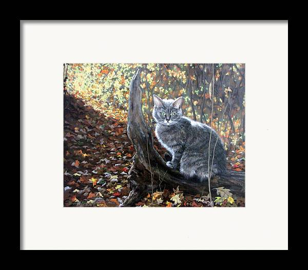 Kitten Framed Print featuring the painting Waiting In The Woods by Sandra Chase