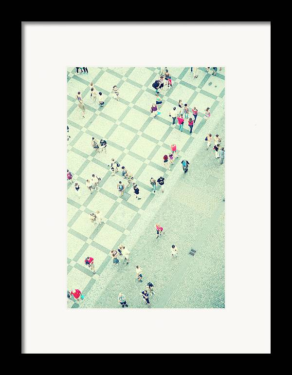 Vertical Framed Print featuring the photograph Walking People by Carlo A