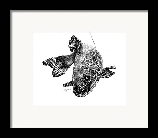 Walleye Framed Print featuring the drawing Walleye by Kathleen Kelly Thompson