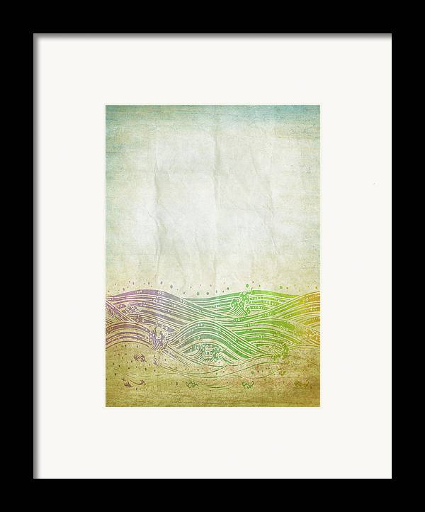 Abstract Framed Print featuring the digital art Water Pattern On Old Paper by Setsiri Silapasuwanchai