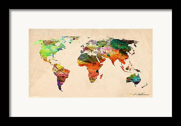 Landmark Framed Print featuring the digital art Watercolor World Map by Mark Ashkenazi