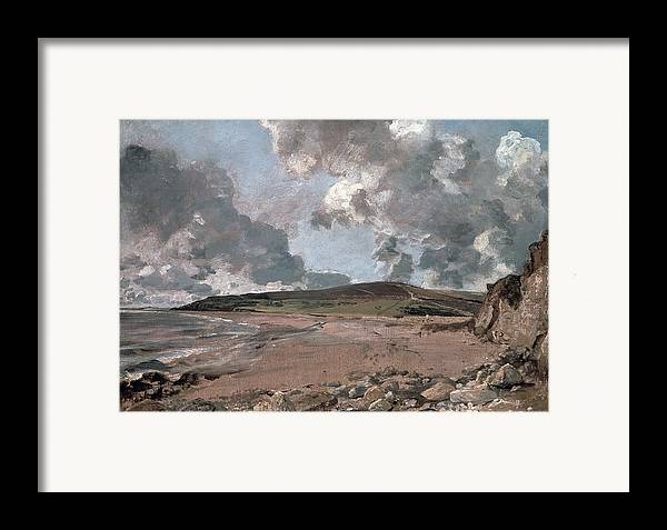 Furzy Cliff; Sand; Clouds; Cloud; Landscape; Rocky; Desolate; Barren; Romantic; Romanticism; Darkened; Storm; Stormy Framed Print featuring the painting Weymouth Bay With Jordan Hill by John Constable
