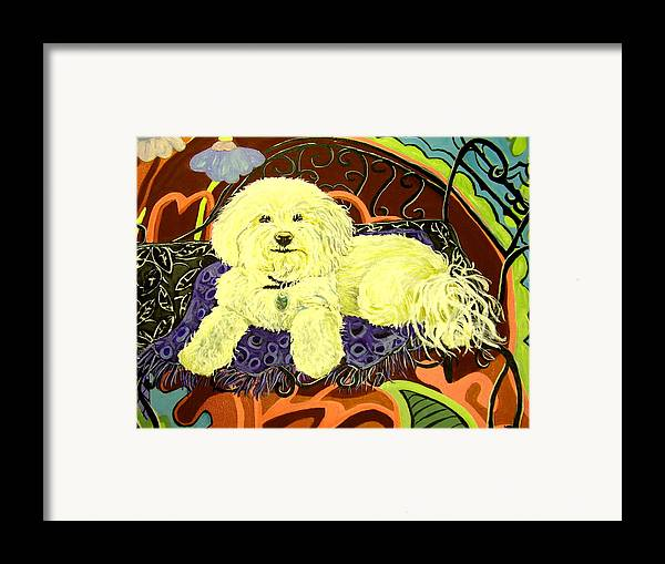 Art Framed Print featuring the painting White Dog In Garden by Patricia Lazar
