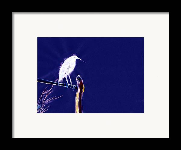 Bird Framed Print featuring the painting White Egret by Anil Nene