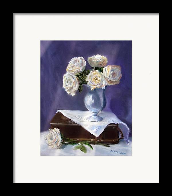 Flowers Framed Print featuring the painting White Roses In A Silver Vase by Jack Skinner