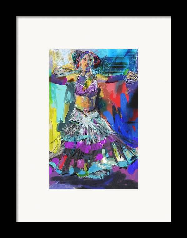 Dancer Framed Print featuring the digital art Wild Belly Dancer by Barbara Kelley