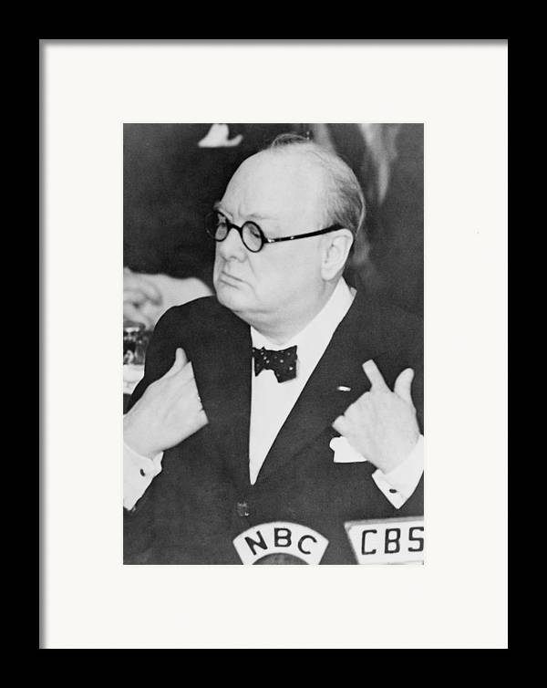 History Framed Print featuring the photograph Winston Churchill 1874-1965 by Everett