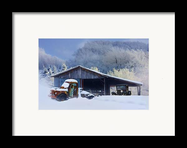 Winter Framed Print featuring the photograph Winter Shed by Ron Jones
