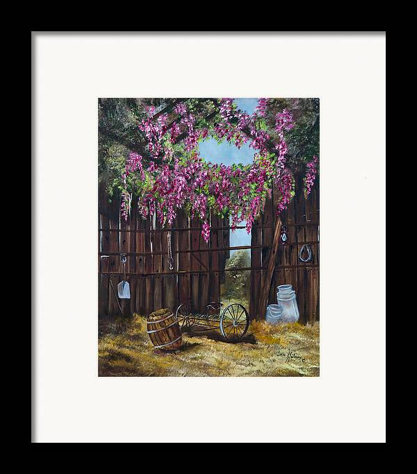 Wisteria Framed Print featuring the painting Wisteria by Jan Holman