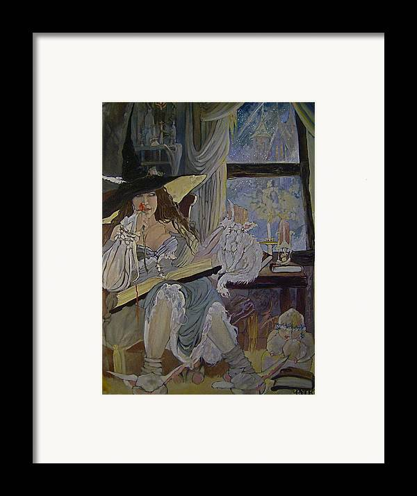 Witch Halloween Cat Wicca Framed Print featuring the drawing Witch by Jackie Rock