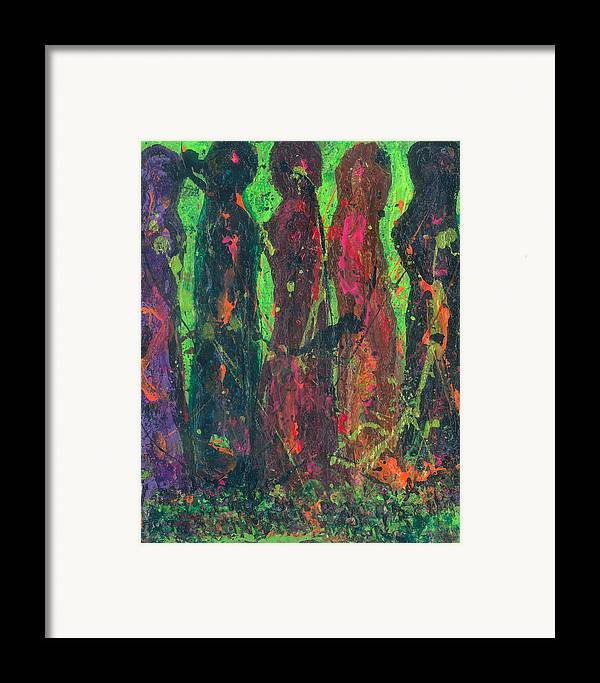 Women Framed Print featuring the painting Women Bonding by Annette McElhiney