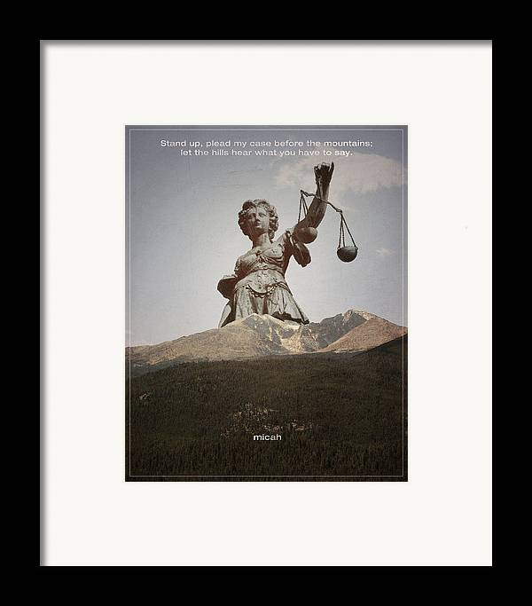 Bible Framed Print featuring the digital art Word Micah 2 by Jim LePage
