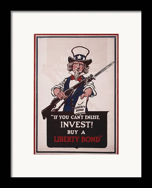 1910s Framed Print featuring the photograph World War I, Poster Showing Uncle Sam by Everett