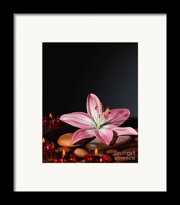 Still Life Framed Print featuring the photograph Zen Atmosphere At Spa Salon by Anna Omelchenko
