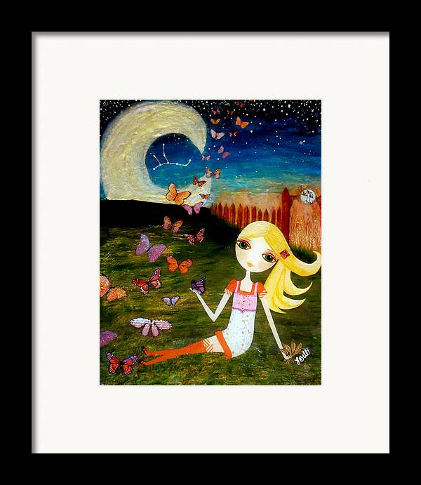 Zodiac Framed Print featuring the painting Zodiac Virgo by Laura Bell