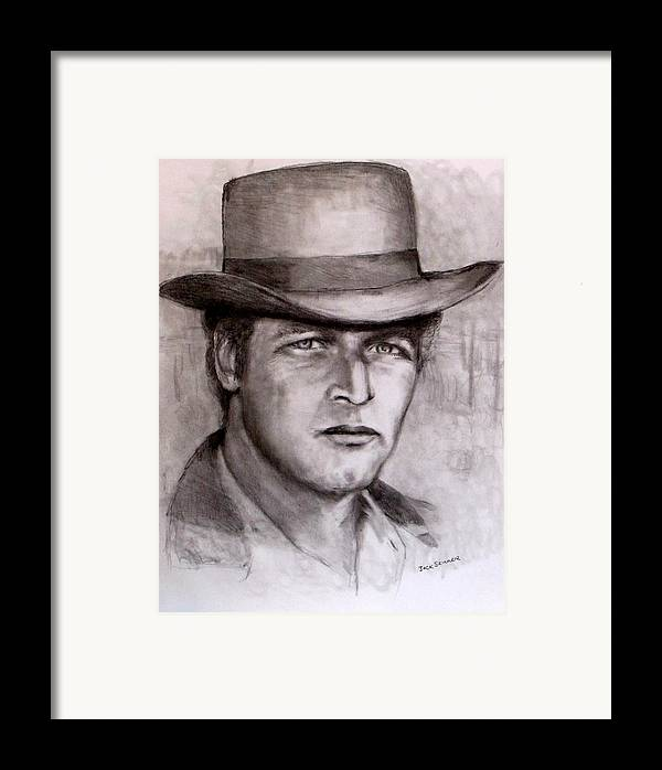 Butch Cassidy Framed Print featuring the drawing Butch Cassidy by Jack Skinner