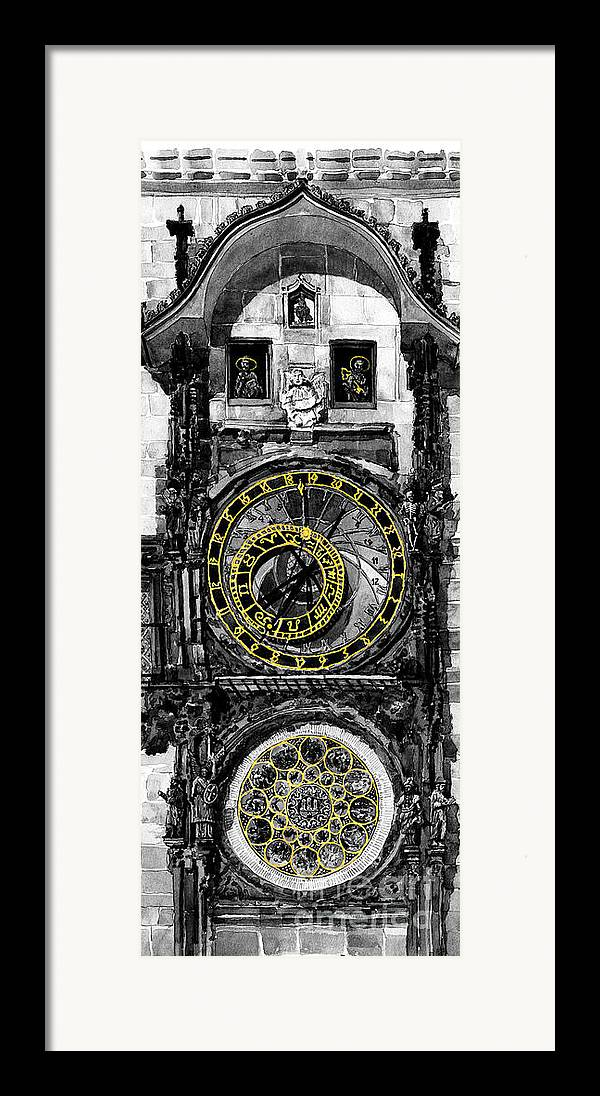 Geelee.watercolour Paper Framed Print featuring the painting Bw Prague The Horologue At Oldtownhall by Yuriy Shevchuk