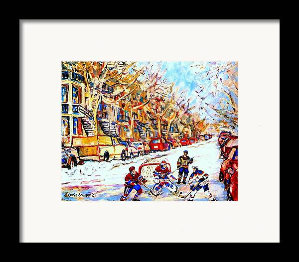 Hockey Framed Print featuring the painting Hockey Game On Colonial Street Near Roy Montreal City Scene by Carole Spandau