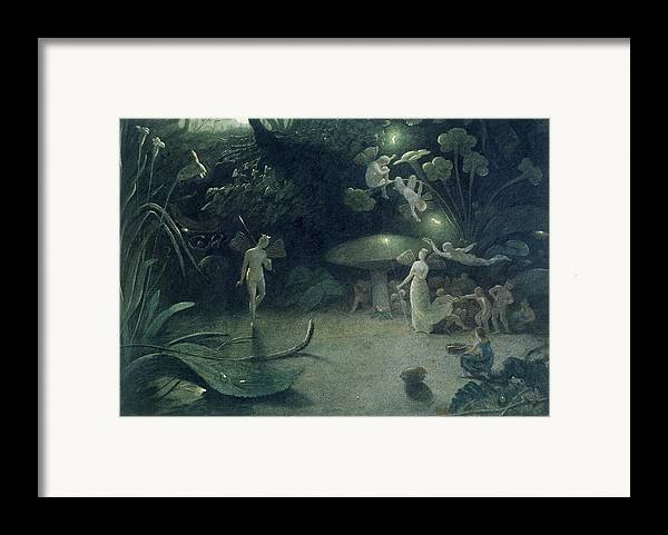 Fairy; Fairies; Nocturnal; Oberon; Titania; Quarrel; Child; Glow Worm; Taper; Lighting Framed Print featuring the painting Scene From 'a Midsummer Night's Dream by Francis Danby