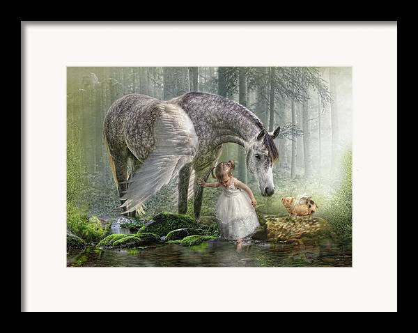 Horse Framed Print featuring the digital art Special Friends by Trudi Simmonds