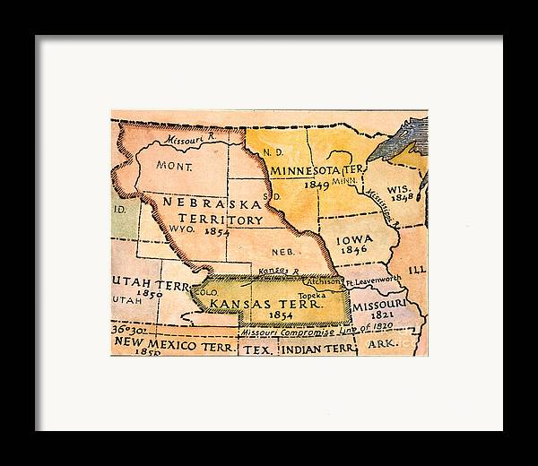 1854 Framed Print featuring the painting Kansas-nebraska Map, 1854 by Granger