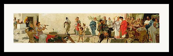 A Roman Street Scene With Musicians And A Performing Monkey Framed Print featuring the painting A Roman Street Scene With Musicians And A Performing Monkey by Modesto Faustini