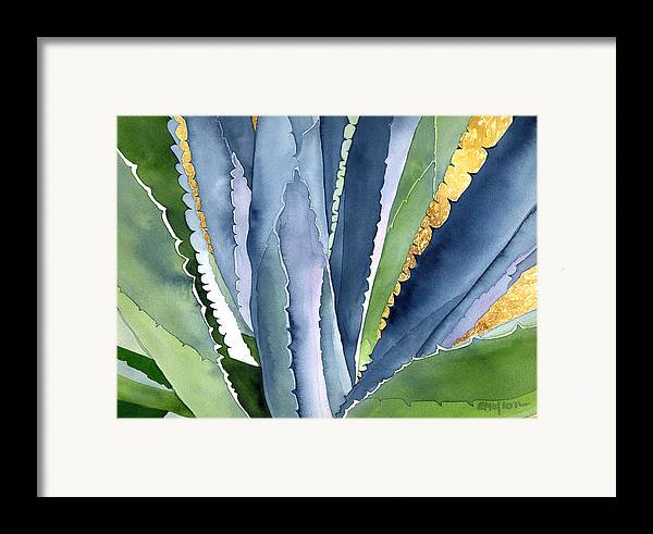Botanical Framed Print featuring the painting Agave 2 by Eunice Olson