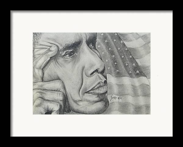 Barack Obama Framed Print featuring the drawing Barack Obama by Stephen Sookoo
