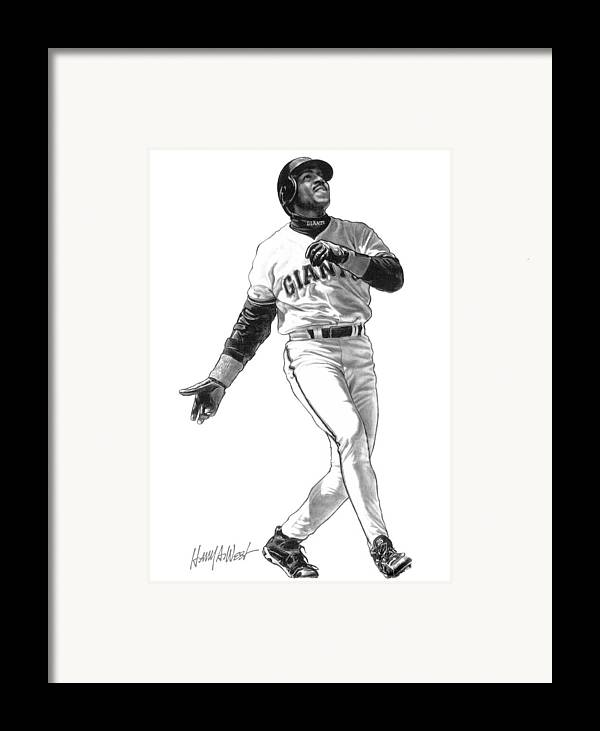 Barry Bonds Framed Print featuring the drawing Barry Bonds by Harry West