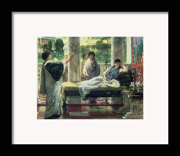 Catullus Framed Print featuring the painting Catullus Reading His Poems by Sir Lawrence Alma-Tadema