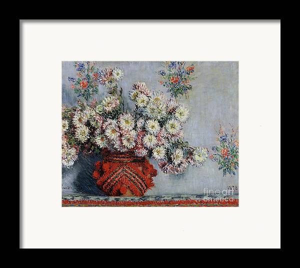 Chrysanthemums Framed Print featuring the painting Chrysanthemums by Claude Monet