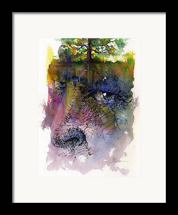 Tree Framed Print featuring the painting Face With Tree by John D Benson