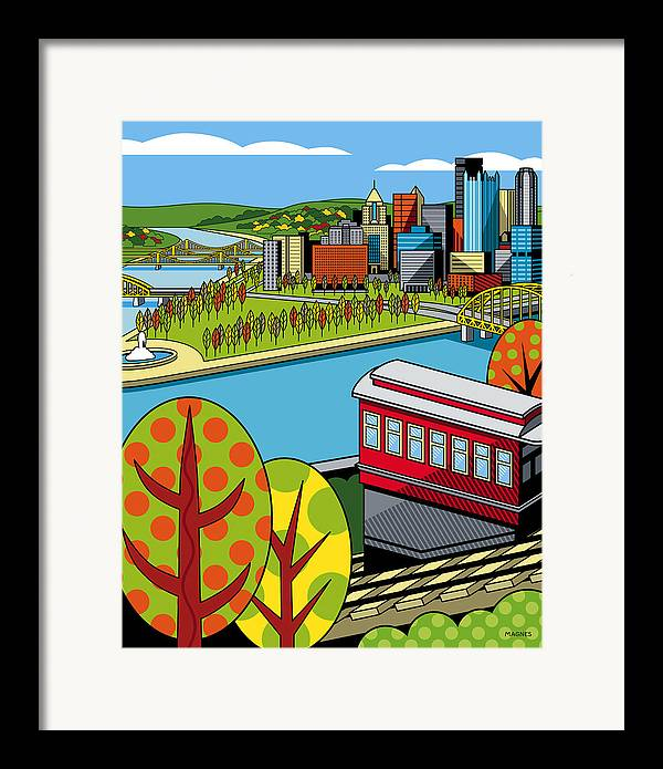 Pittsburgh Framed Print featuring the digital art Fall From Above II by Ron Magnes