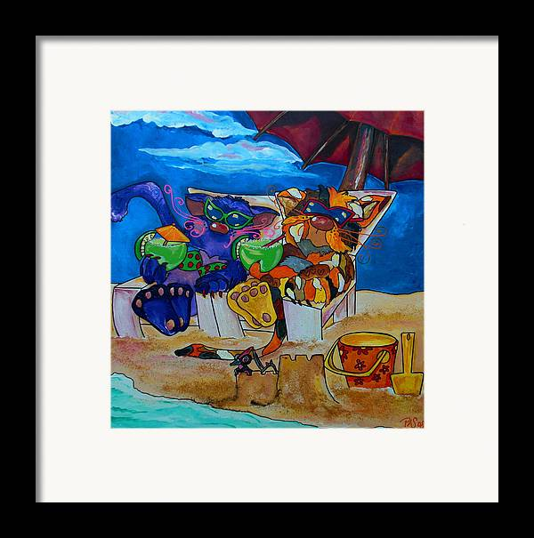 Cats Framed Print featuring the painting Fat Cats Catchin Rays by Patti Schermerhorn
