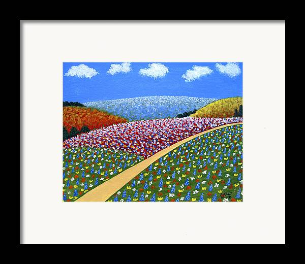 Landscape Paintings Framed Print featuring the painting Hills Of Flowers by Frederic Kohli