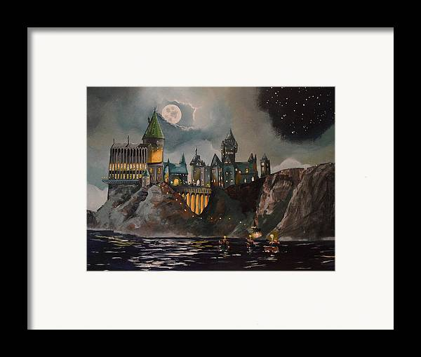 Harry Framed Print featuring the painting Hogwart's Castle by Tim Loughner