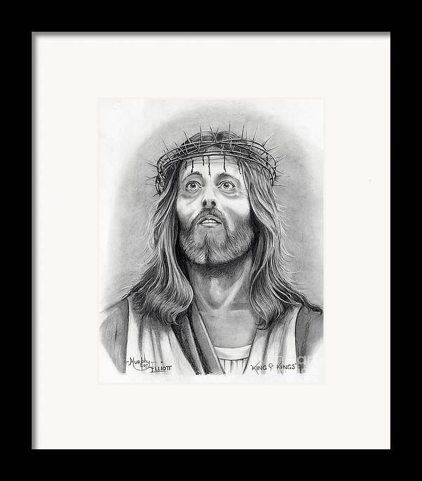 Jesus Christ Framed Print featuring the drawing King Of Kings by Murphy Elliott