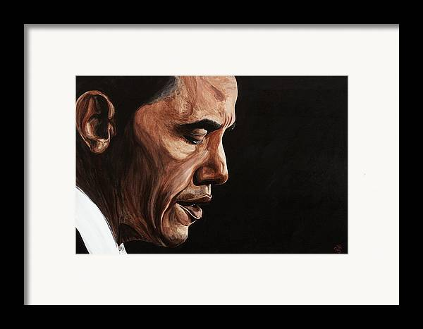 Portrait Framed Print featuring the painting President Barack Obama Portrait by Patty Vicknair
