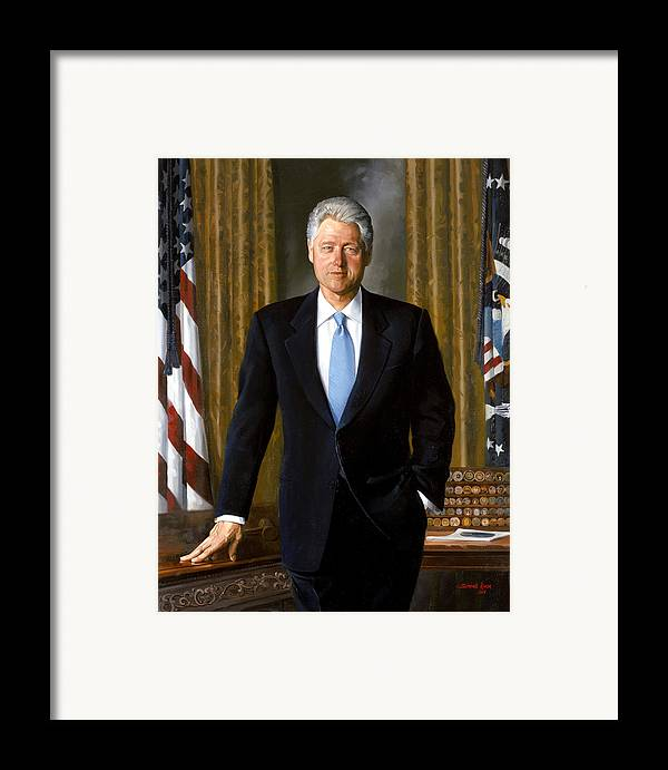 Bill Clinton Framed Print featuring the painting President Bill Clinton by War Is Hell Store