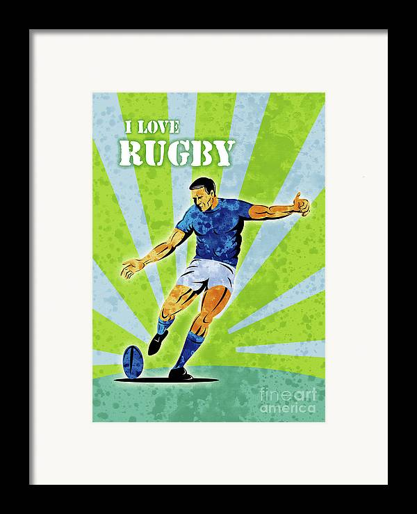Rugby Framed Print featuring the digital art Rugby Player Kicking The Ball by Aloysius Patrimonio