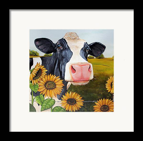 Cow Framed Print featuring the painting Sunflower Sally by Laura Carey