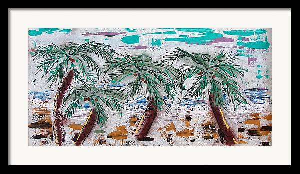 Palm Trees Framed Print featuring the painting Surf N Palms by J R Seymour