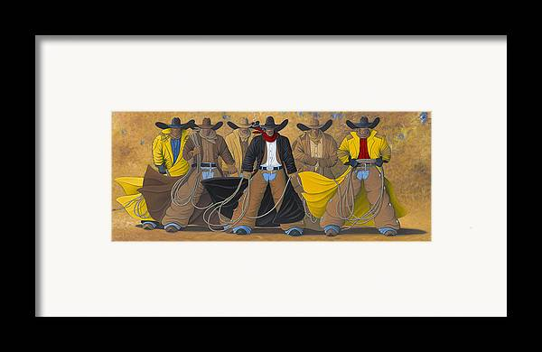 Large Cowboy Painting Of Six Cowboys. Framed Print featuring the painting The Posse by Lance Headlee