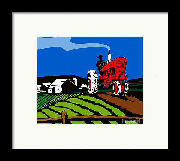 Tractor Framed Print featuring the digital art Vintage Tractor Retro by Aloysius Patrimonio