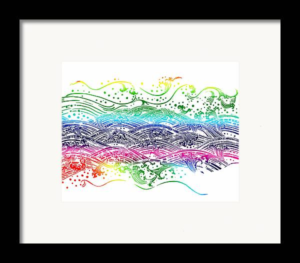 Abstract Framed Print featuring the painting Water Pattern by Setsiri Silapasuwanchai