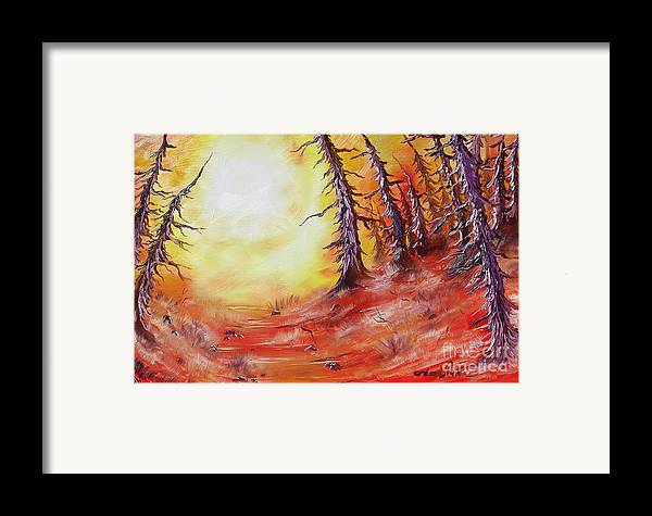 Abstract Framed Print featuring the painting 16 Trees by Joseph Palotas