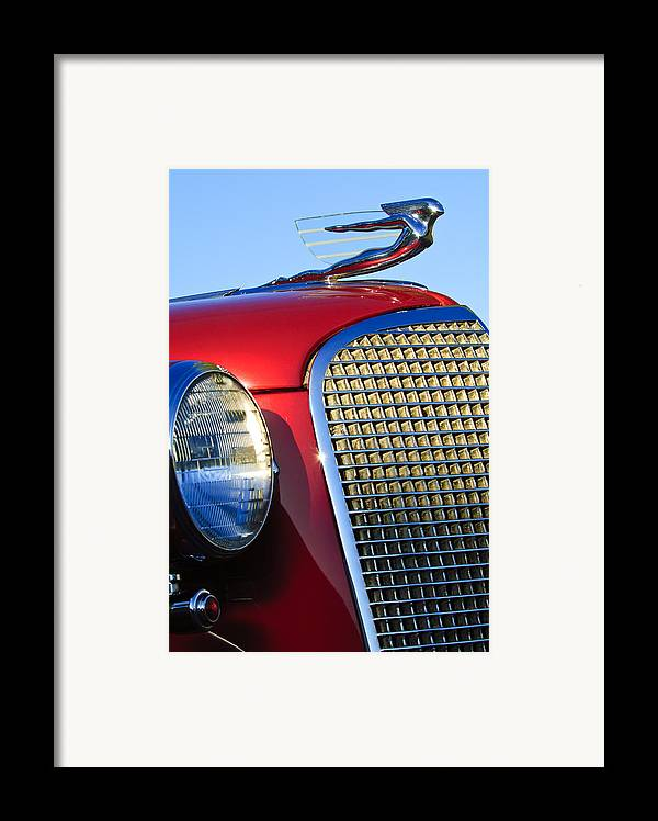 1937 Cadillac V8 Framed Print featuring the photograph 1937 Cadillac V8 Hood Ornament 2 by Jill Reger